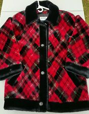 Vintage Red Plaid Womens L Jacket Tartan Plaid Christmas Coat JG Hook