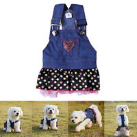 For Pet Dog Lace Pocket Lovely Costume Apparel Clothes Jeans Dress Skirt Dog Use