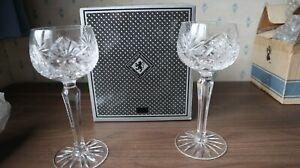 """2 Edinburgh Crystal """"Royal"""" Tall Hock Glasses + Box + Tissue Unused, 7.1/4"""" tall"""
