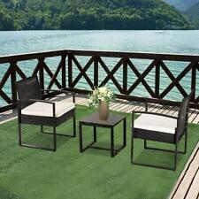 3pc Garden Table Sofa Chair w/ Cushion Outdoor Rattan Patio Wicker Furniture Set