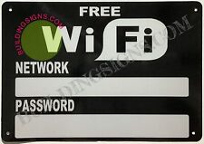 Free WiFi with Password and Network Sign (Reflective,White,  7X10)-ref0420
