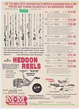 1975 Heddon Fishing Reels Fishing Rods Heddon Lures Vintage Print Ad Man Cave
