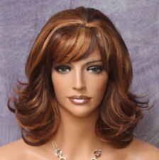 Short layered Hair Piece bottom Flip Full Wig Auburn mix bangs WAOL 27-30-33 NWT