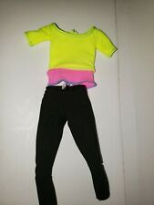 Barbie Clothes Yellow, Pink & Black Workout / Yoga Outfit