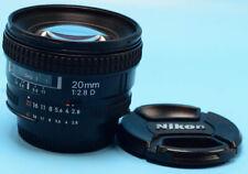 Nikon NIKKOR 20mm f/2.8D AF Lens Exc++++++++W/Caps 2ND