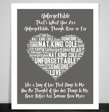 Nat King Cole Unforgettable Music Love Song Lyrics Heart Framed Art Print Gift