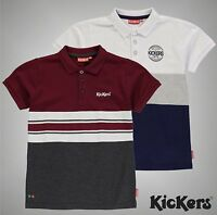 Junior Boys Kickers Short Sleeves Colour And Stripe Polo Shirt Top Size Age 7-13