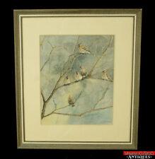 Original Watercolor/Pen Artist Ann Kline Redpolls Perched Winter Branches L1Z