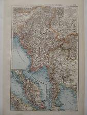 Landkarte von Burma und Malyische Halbinsel, Lithographie, Andrees 1897