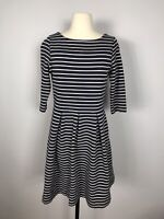 Boden Navy Blue and White Striped 3/4 Sleeve Fit and Flare Knee Length Dress 8