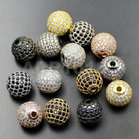Top Zircon Gemstones Pave Round Ball Bracelet Connector Charm Beads
