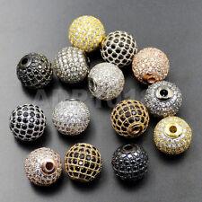 Top Zircon Gemstones Pave Round Ball Bracelet Connector Charm Beads