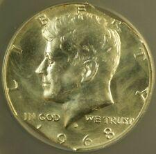 1968-D Kennedy Silver Half Dollar Mint Error Quadruple Curved Clips ANACS MS-60