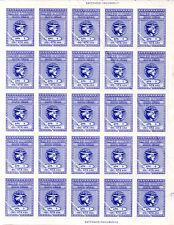 Block of 25 Old Blue RRR Greek Revenue Stamps 3 Drachmai MNH GR Republic Fund