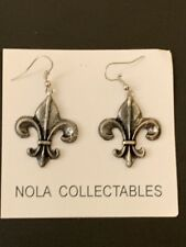 Earrings 1' X 1 1/8' Handcrafted Antique Silver Pewter Fleur De Lis Loop