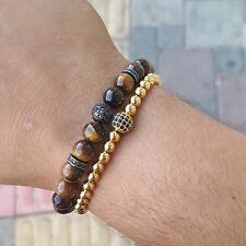 Mans Anil Arjandas Macrame Bracelet Rhodium Plated CZ Ball & 8mm Tiger Eye Beads