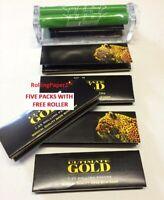 79mm Rolling Machine+ 5 Packs ULTIMATE GOLD 1 1/4 sz Premium Hemp Rolling Papers