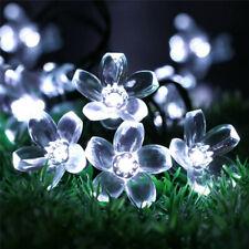 50 LED Solar Garden String Lights Flower Bulbs Cool White Outdoor Waterproof UK