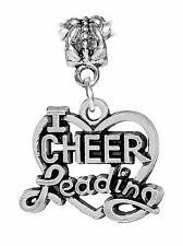 I Heart Cheerleading Cheerleader Gift Love Cheer Dangle Charm for Euro Bracelets