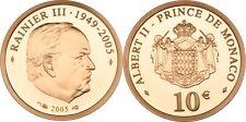 """10 Euro Gold MONACO 2005 """"Rainier III. """", PP original"""