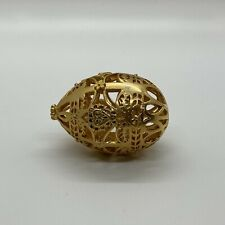 Vintage Gold Decorative Metal Egg Beautifully Designed Collectible 2�