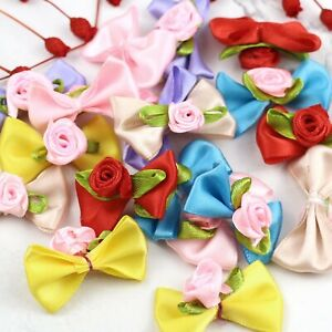 Satin Ribbon Flowers Mini Rose Bows Appliques 10/20/35P DIY Craft Wedding Decor