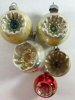 Vintage Lot of 5 Shiny Brite Indent Mercury Glass Christmas Tree Ornaments
