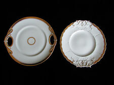 2 Victorian Plates Ivory Cream color w Gold hand painted Gorgeous Great Price