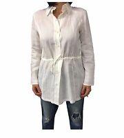 PERSONA by Marina Rinaldi camicia donna ecru mod EUROPE 100% lino MADE IN ITALY