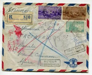 INDIA 1953 REGISTERED COVER to Cameroon + Returned