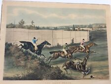 "Large Handcolored Engraving ""The Last Fence""After Henry Alken"