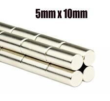 Neodymium Disc Rod 10pcs Very Strong 5mm x 10mm Neo Cylinder Magnet