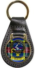 Leather Key Fob Scottish Family Clan Crest Beattie Made in Scotland