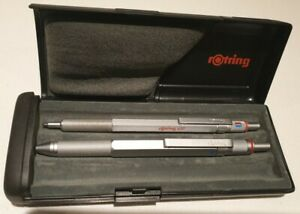 Vintage Rotring 600 Silver Trio Knurled Grip and 600 Ballpoint with Rotring Case