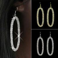 Women's Earrings Fashion Oval Rhinestone Hoop Dangle Hip Hop Jewelry Fancy