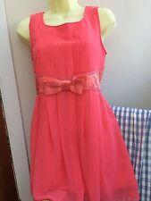 Yumi Orange Salmon Peach Dress Summer Short Size S/M 10 Pretty