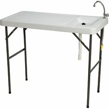 Fish Cleaning Folding Table & Faucet Portable Outdoor Camping Gardening BBQ Hose