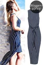 Billig Damen Gestreift Asymmetrisch vorne Twist Knoten ärmellos Kleid mit Shorts