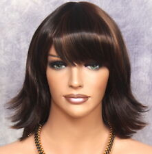 NEW STYLE Short flip out w. BANGS Full WIG Brown mix 4/27 UM Hair Piece NWT