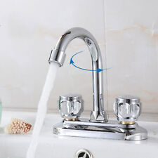 Hot/Cold Two Handles Bathroom Kitchen Wash Basin Faucets Mixer Water Taps