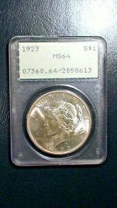 1923 P Peace Silver Dollar PCGS MS64 RATTLER HOLDER $1 COIN Starts At 99 Cents!