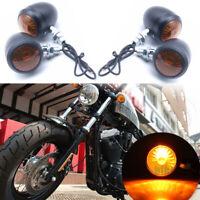 4 pcs Ambre Lampe Signal Feu Clignotant Indicateur Bullet Noir Pour Harley Moto