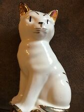 Vintage Domestic Cat Ceramic White w/Gold And Black Trim. Made In Japan. H.Paint