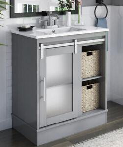 "30"" Single Bathroom Vanity Set Cabinet W/ 2 Baskets & Ceramic Sink"