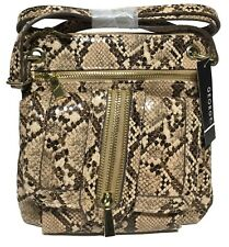 NWT George Jana Zipper Pocket Cross Body, Natural Snake Color, Adjustable Strap