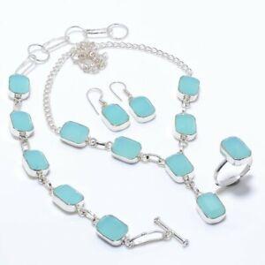 Aqua Chalcedony Gemstone  Ethnic 925 Sterling Silver Jewelry Set
