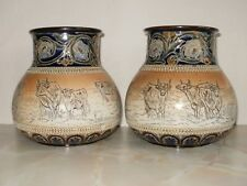 DOULTON LAMBETH HANNAH BARLOW PAIR OF CATTLE VASES c1887