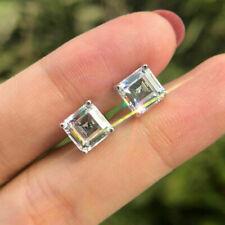 2.00Ct Asscher Cut D/VVS Diamond Pretty Solitaire Earrings 14K White Gold Finish