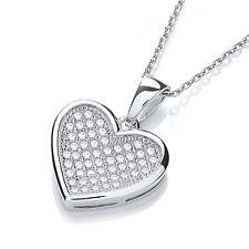 J JAZ Rochelle Sterling Silver Heart Shaped Cubic Zirconia Pendant Necklace