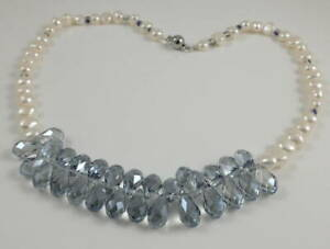 Ocean Blue Swarovski Crystal Drop Pendant & White Baroque Pearl Necklace 19.5''
